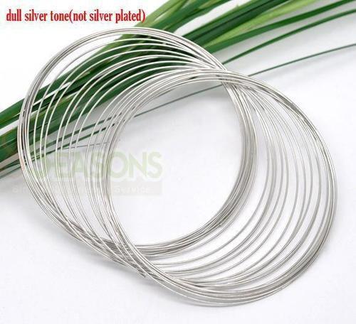 Spominska / Memory žica za zapestnice platinaste barve premer 65mm