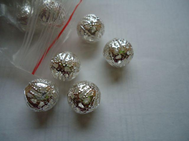 Kovinske posrebrene filigran perle, 12 mm, 25 kom=1,8 evr