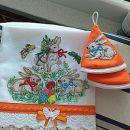 komplet-kuhinjska brisačka za roke in oprijemalki za posodo