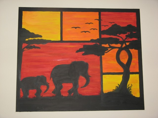 Sloni -afrika-olje na platno