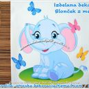 Otroška nalepka, stenska nalepka slonček z metulji