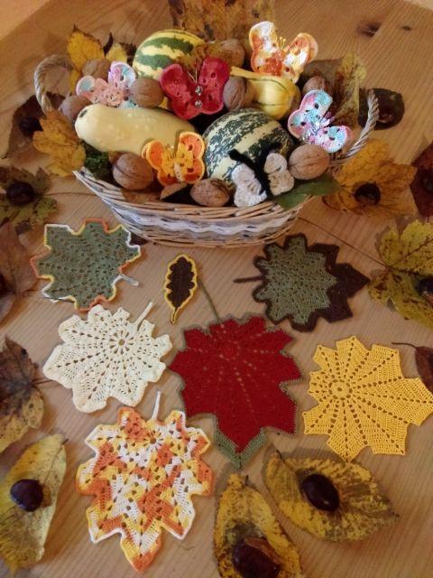 Vzorci za kvačkanje listov in metulja - foto
