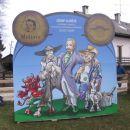 Josip Jurčič s svojimi junaki prvega slovenskega romana Deseti brat