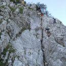 Začetni strmi plezalni del na Stol