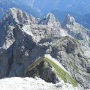 Pogled na vrhove pod katerimi poteka plezalna pot Anita Goitan