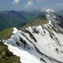Pogled na prehojeno grebensko pot od Vrha Planje do Skutnika
