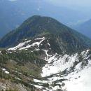 Razgled z vrha na našo prehojeno pot in Vrtaški vrh