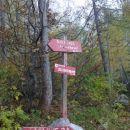 Razpotje poti, kjer se usmerimo za Kopinškovo pot na Ojstrico
