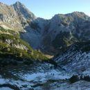 Razgled s Studorskega prevala na Mali Draški vrh (levo) in Viševnik (desno)