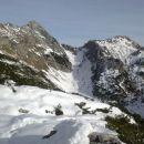 Razgled iz poti na Mali Draški vrh, Srenjski preval in Viševnik (od leve proti desni)