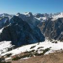Razgled z vrha na Brda, Viševnik, Draška vrhova, Vernar in Triglav