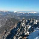 Razgled z vrha na Kepo, Rožco, Dovško Babo, Golico in Struško (od leve proti desni)