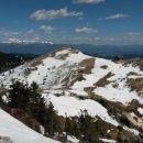 Razgled z vrha na Kamniško-Savinjske alpe in Krekovo kočo na Ratitovcu