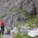 Vstop v zavarovano plezalno pot na Plešivec