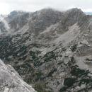 Razgled iz vrha na Plaski Vogel (levo) in Špičje (desno)