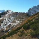 Razgled iz vrha na Triglav, Sleme in Kukovo špico (od leve proti desni)