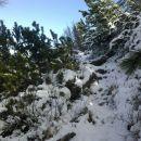 Zimske razmere ob spustu na avstrijsko stran