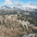 Razgled iz vrha na Plaski Vogel, Špičje, Tičarice, Zelnarice, Vogle in Debeli vrh