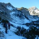 Pot čez Kačji rob ter razgled na Viševnik (levo) in Mali Draški vrh (desno)