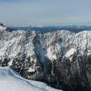 Razgled iz vrha na Mangart, Vevnico, Strug in celoten greben Ponc