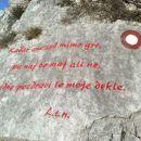 Napis na skalci pod vrhom Gradiške Ture