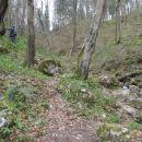 Ob tej skali levo zavije kar strma direktna pot na Srebotnik.