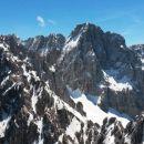 Razgled z vrha Špika na Ponci, Škrlatico in Dolkovo špico (od leve proti desni)