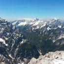 Razgled z vrha Špika na Prisojnik, Jalovec, Mojstrovke, Mangart in Ponce