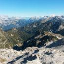 Razgled z Vrha nad Peski na Mangart, Jalovec, Mojstrovke, Prisojnik, Razor in Triglav