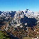 Razgled z vrha Tosca na Debeli vrh, Mišelj vrh in Kanjavec (od leve proti desni)