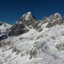 Razgled z vrha Turske gore na Grintovec, Skuto in Rinke (od leve proti desni)