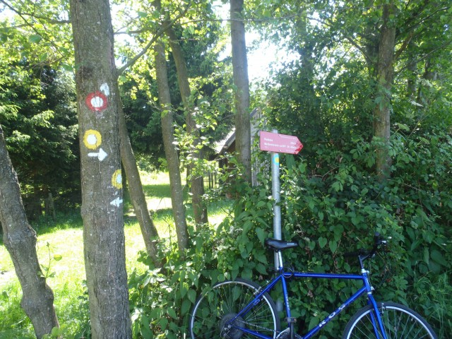 Prislonil kolo, da ne bi kdo ukradel kažipota.