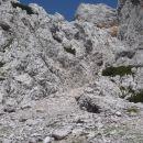 Iz Suhega ruševja možen vstop na greben proti palcu.
