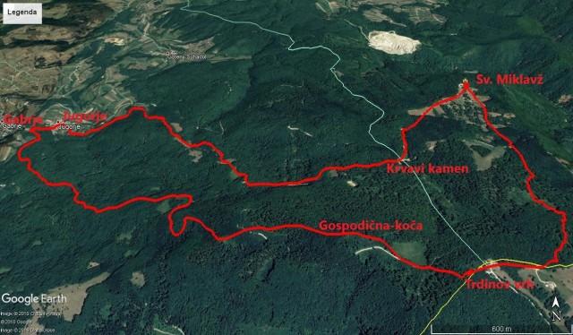 Krožna pot - Gabrje, Jugorje, Sv.Miklavž, Trdinov vrh, Gospodična