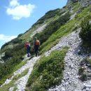 Vzpon z Hanjževega sedla na Veliki vrh Košute.
