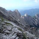 Greben Zaleniški špic od Staničevega vrha gor.