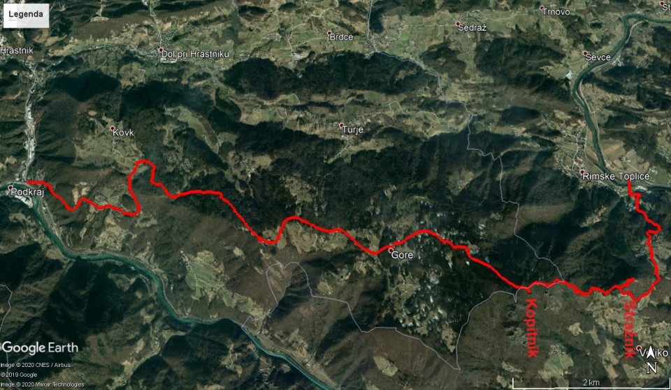 15,9km Hrastnik-Krnice-Gore-Kopitnik-Stražnik-Rimske toplice